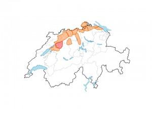 """Abb. 7: Populationsräume der Wieselförderprojekte im Rahmen von """"Wiesellandschaft Schweiz"""" (orange Flächen) und vom """"WIN-karch Pilotprojekt"""" (rote Fläche). Zur Zeit laufen Förderprojekte in den Kantonen Aargau, Basel-Landschaft, Bern, Luzern, Schaffhausen, Solothurn, Thurgau und Zürich."""